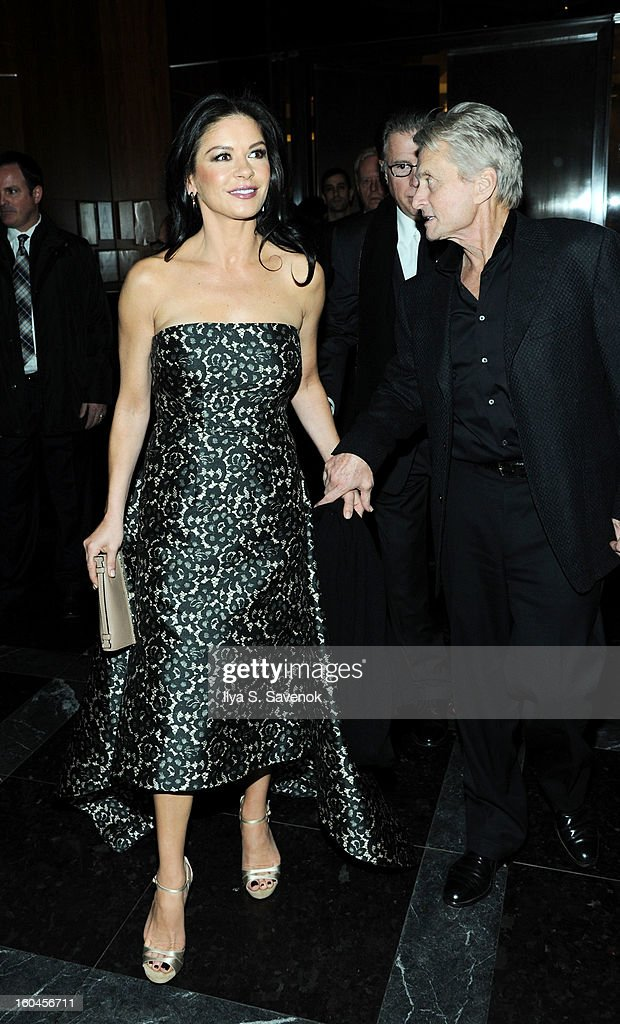 Catherine ZetaJones and Michael Douglas attend the after party for the premiere of 'Side Effects' hosted by Open Road with The Cinema Society and...