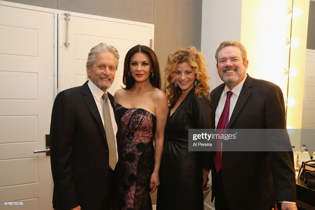 Catherine Zeta-Jones and Michael Douglas join Laura Webb and Jimmy Webb as they prepare in their dresssing room before 'City Winery Presents A Celebration of the Music of Jimmy Webb' at Carnegie Hall on May 3, 2017 in New York City.