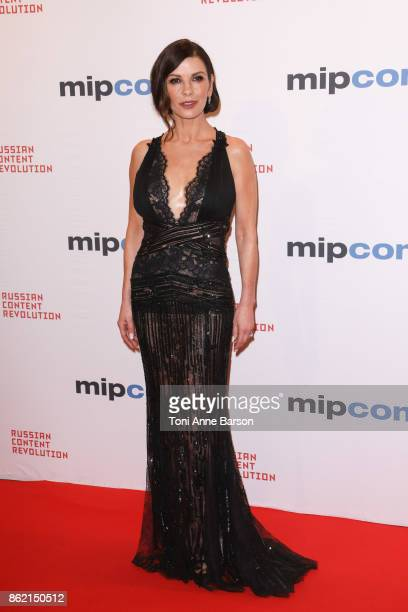 Catherine ZetaJones arrives at the MIPCOM Opening Party at the Carlton Hotel on October 16 2017 in Cannes France