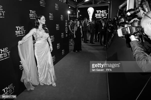 Catherine ZetaJones arrives on the green carpet for The Best FIFA Football Awards at The London Palladium on October 23 2017 in London England