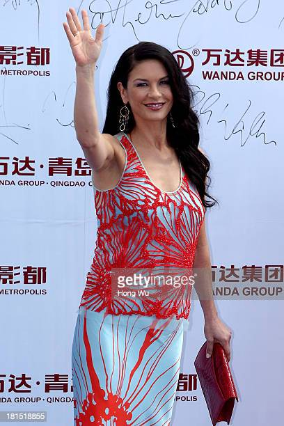 Catherine ZetaJones attends a launching ceremony for the Qingdao Oriental Movie Metropolis on September 22 2013 in Qingdao China