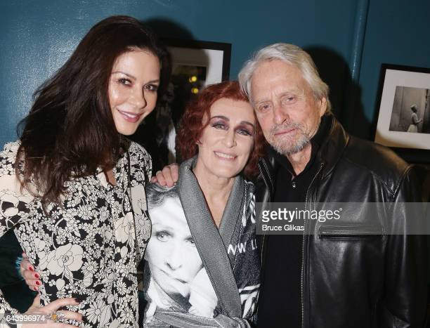 Catherine ZetaJones Glenn Close and Michael Douglas pose backstage at the hit musical 'Sunset Boulevard' on Broadway at The Palace Theater on...