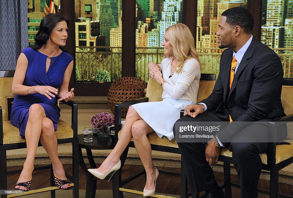 MICHAEL - 1/17/13 - Catherine Zeta-Jones is a guest and Kelly and Michael take The President's Challenge: Adult Fitness Test with Meaghan B. Murphy, deputy editor at SELF magazine on LIVE! with Kelly and Michael,' distributed by Disney-ABC Domestic Television. STRAHAN