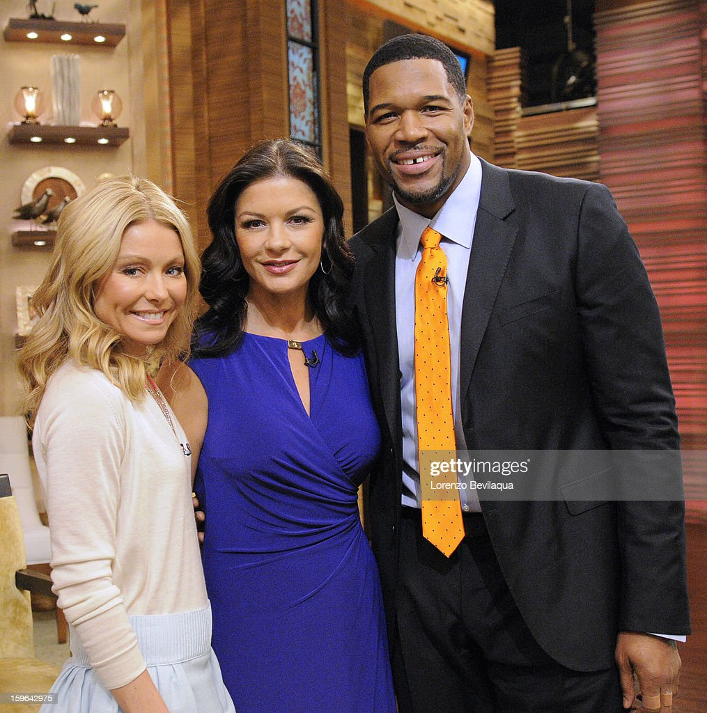 MICHAEL - 1/17/13 - Catherine Zeta-Jones is a guest and Kelly and Michael take The President's Challenge: Adult Fitness Test with Meaghan B. Murphy, deputy editor at SELF magazine on LIVE! with Kelly and Michael,' distributed by Disney-ABC Domestic Television. KELLY
