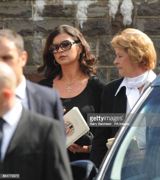 Catherine ZetaJones leaves the funeral of her grandmother Zeta Jones accompanied by her mother Pat in Swansea