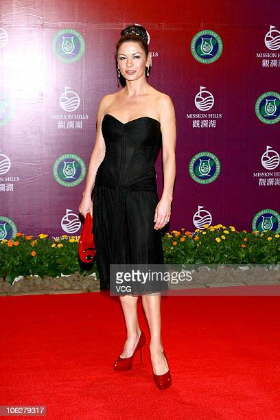 Catherine ZetaJones poses for a photo during the Mission Hills Star Trophy Dinner at the Mission Hills Golf Club on October 27 2010 in Haikou Hainan...