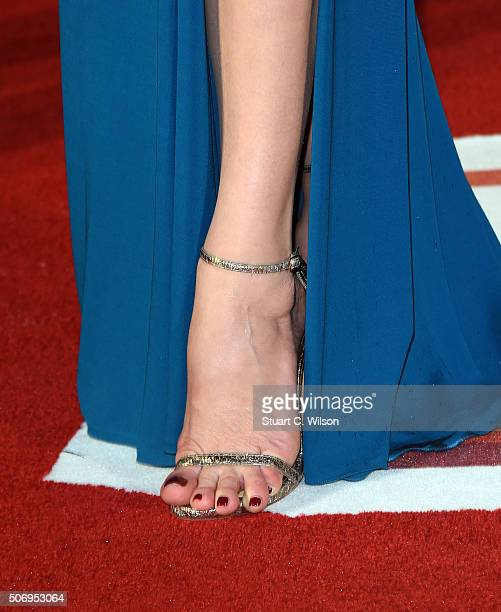 Catherine ZetaJones shoe detail attends the 'Dad's Army' World Premiere at Odeon Leicester Square on January 26 2016 in London England