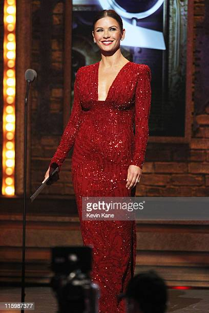 Catherine ZetaJones speaks on stage during the 65th Annual Tony Awards at the Beacon Theatre on June 12 2011 in New York City