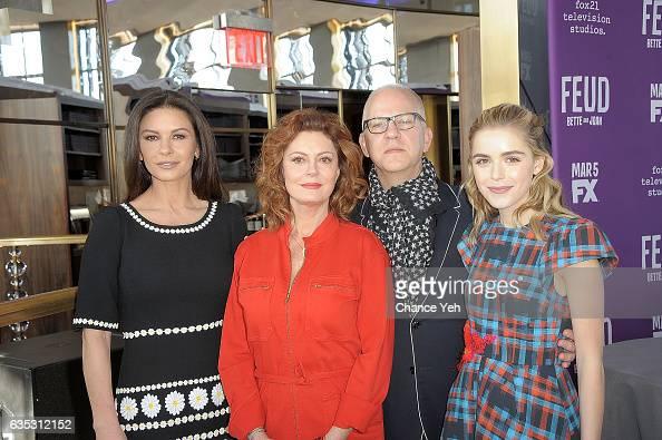 Catherine ZetaJones Susan Sarandon Ryan Murphy and Kiernan Shipka attend 'Feud' Tastemaker lunch at The Rainbow Room on February 14 2017 in New York...