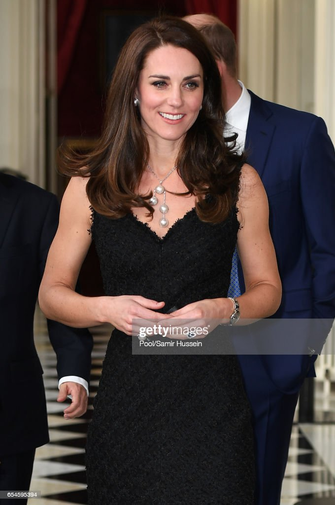 Catherine,Duchess of Cambridge and Prince William, Duke of Cambridge attend a reception at the British Embassy on March 17, 2017 in Paris, France. The Duke and Duchess are on a two day tour of France.