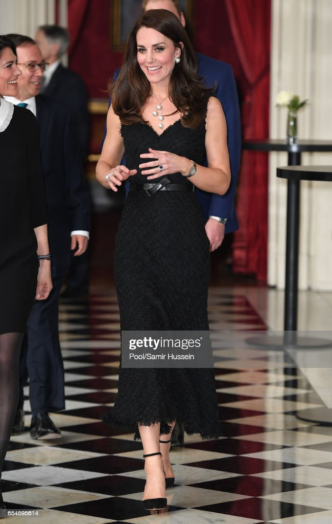 Catherine,Duchess of Cambridge attends a reception at the British Embassy on March 17, 2017 in Paris, France. The Duke and Duchess are on a two day tour of France.