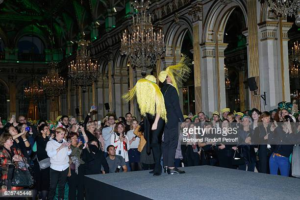 Catherinette and Nicolas from Rabih Kayrouz attend the SainteCatherine Celebration at Mairie de Paris on November 25 2016 in Paris France At Sainte...