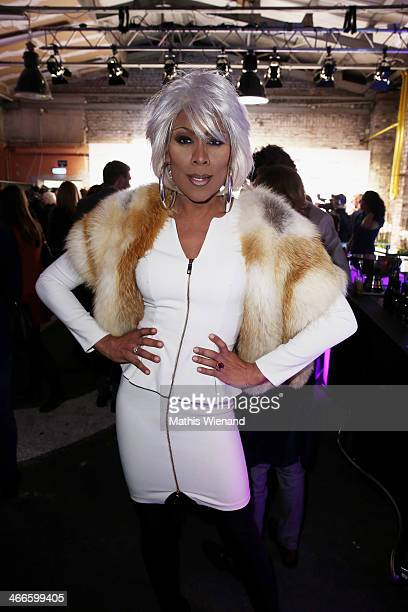Catherrine Leclery arrives for the Thomas Rath fashion show during Platform Fashion Dusseldorf on February 2 2014 in Dusseldorf Germany