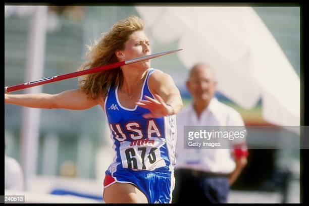 Cathie Wilson throws a javelin during a track meet Mandatory Credit Allsport /Allsport