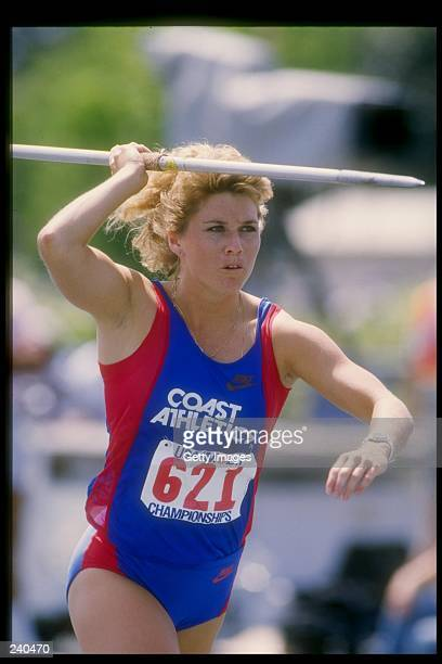 Cathie Wilson throws the javelin during the TAC Championships Mandatory Credit Allsport /Allsport