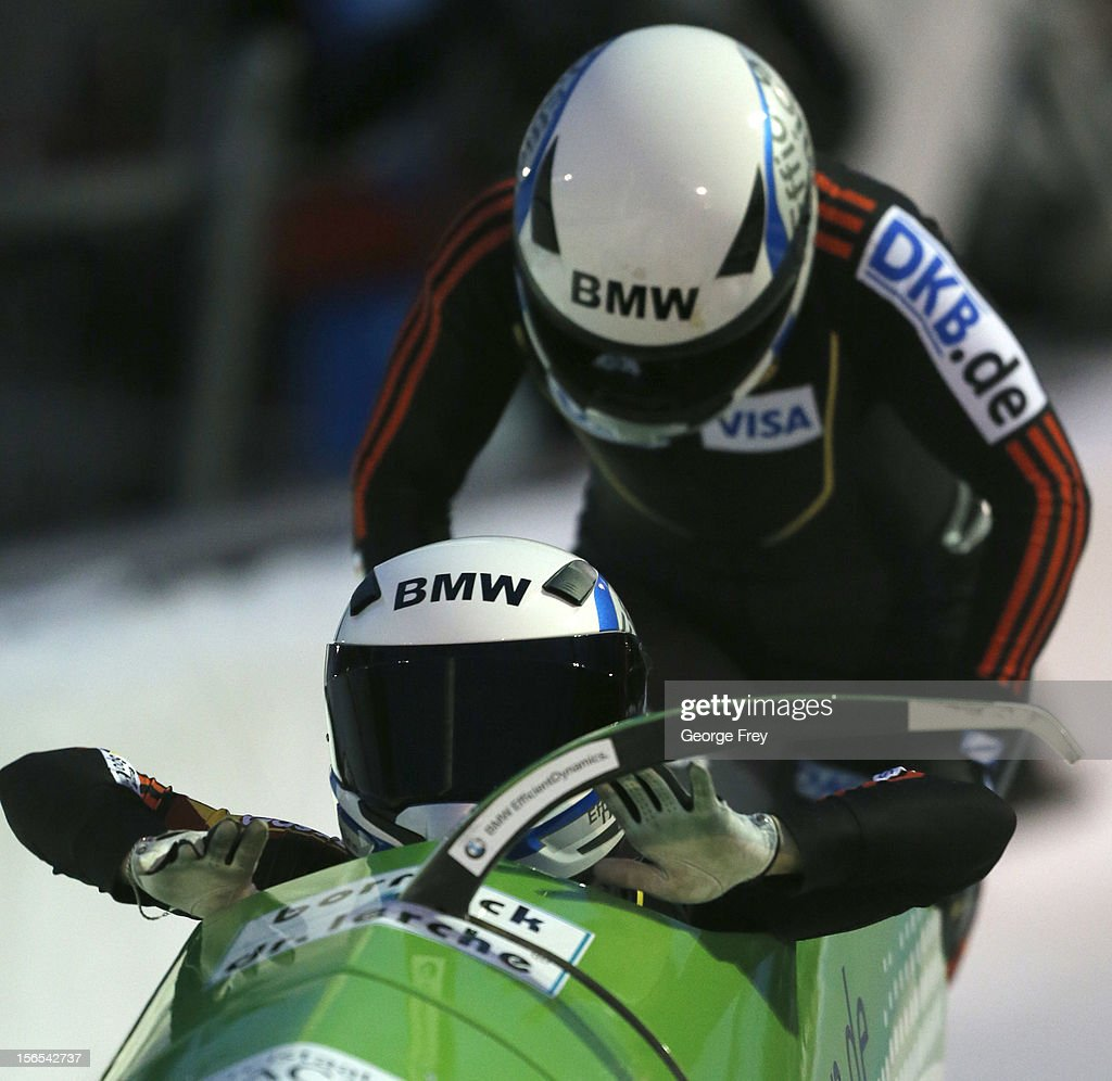 Cathleen Martini (F) and Stephanie Schneider of Germany finish third in the FIBT women's bobsled world cup, on November 16, 2012 at Utah Olympic Park in Park City, Utah.