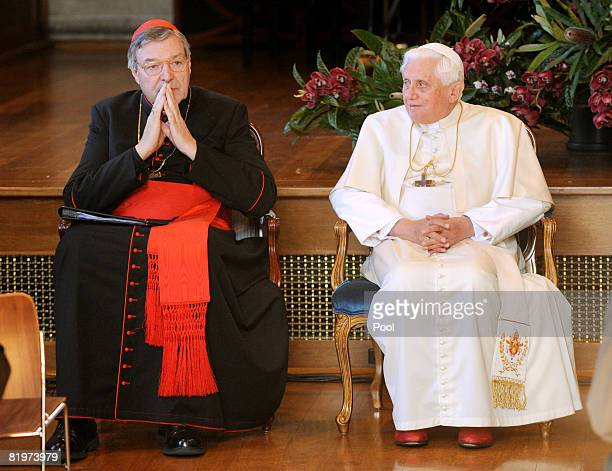 Catholic Archbishop of Sydney Cardinal George Pell and His Holiness Pope Benedict XVI attend a meeting with Heads of Other Faiths at St Mary's...