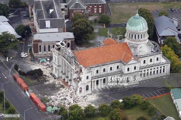 Catholic Cathedral is seen damaged on February 23 2011 in Christchurch New Zealand A massive search and rescue mission is underway and least 39...