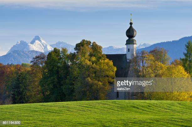 Catholic Church Ettendorfer Kircherl with Bavarian Alps, Traunstein, Upper Bavaria, Germany