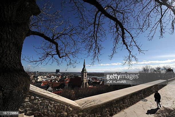Catholic church of Saint Martin peaks out of the panorama of the old town in Bratislava on March 1 2010 AFP PHOTO/JOE KLAMAR
