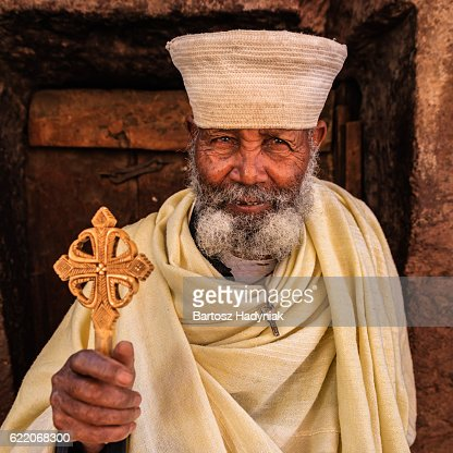 Catholic priest of rock-hewn churches of Lalibela. Ethiopia,East Africa