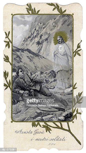 Catholic religious image with prayer for the soldiers at the front 'Assist Jesus our soldiers' Jesus Christ appears to the soldier who fought in the...