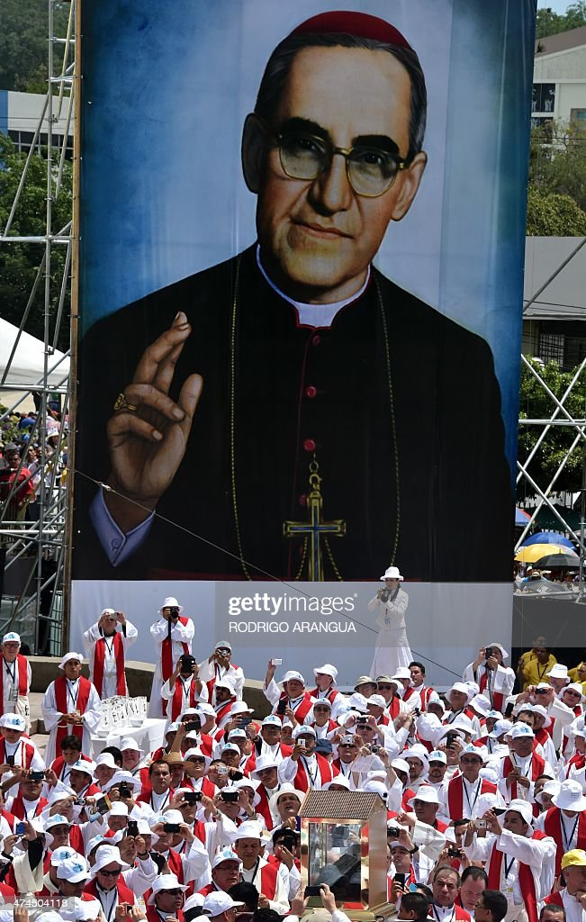 Catholics participate in a mass celebrating the beatification of Salvadorean archbishop Oscar Romero at San Salvador's main square on May 23 2015...