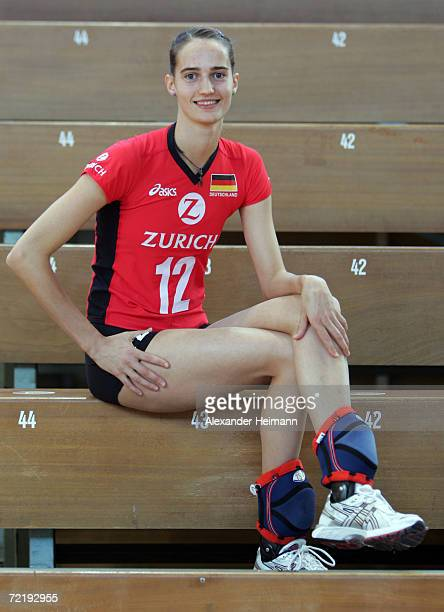 Cathrin Schlueter poses for photographs during the photo call of the Women German National Volleyball Team on October 16 2006 in Heidelberg Germany
