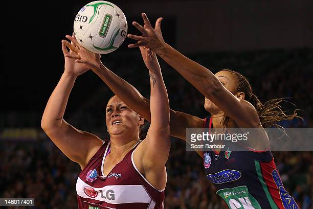 Cathrine Latu of the Mystics and Geva Mentor of the Vixens compete for the ball during the Major Semi Final ANZ Championship match between the...