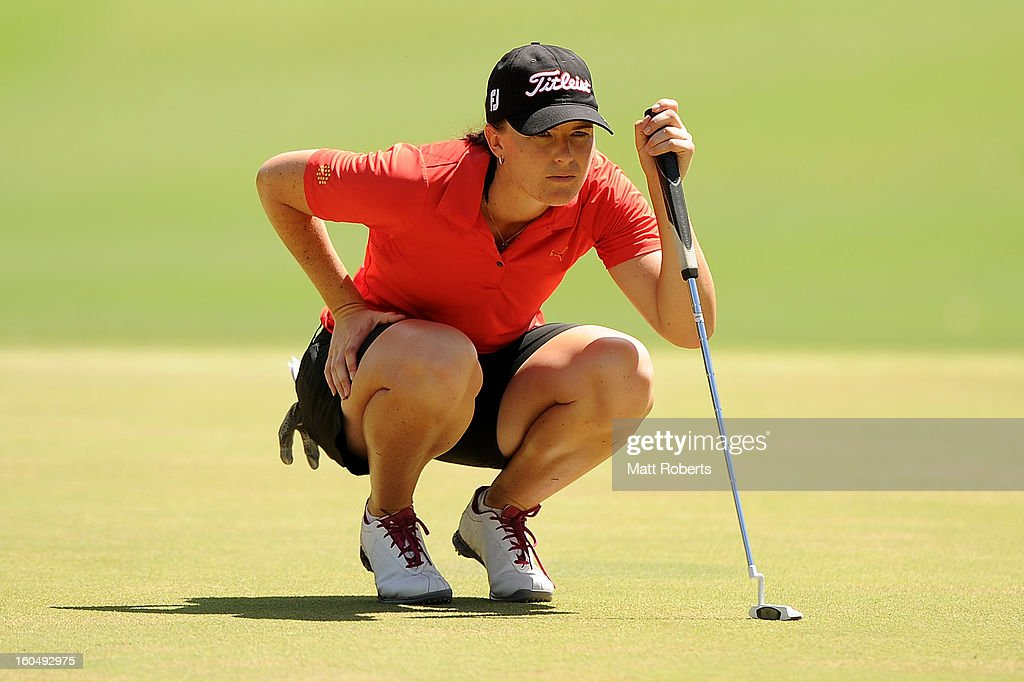 Cathryn Bristow of New Zealand lines up her putt on the first green during the Australian Ladies Masters at Royal Pines Resort on February 2, 2013 on the Gold Coast, Australia.