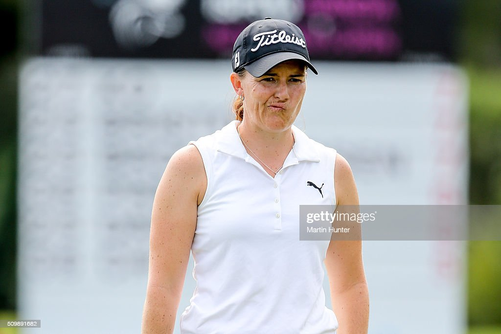 Cathryn Bristow of New Zealand reacts to a putt during the 2nd round of the New Zealand Women's Open at Clearwater Golf Club on February 13, 2016 in Christchurch, New Zealand.