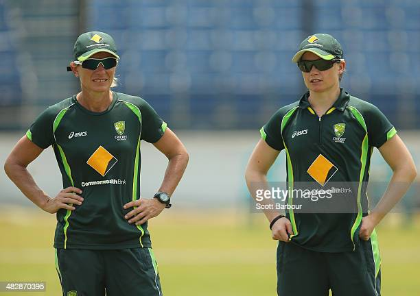 Cathryn Fitzpatrick coach of Australia and Jess Cameron of Australia look on during an Australia Women's nets session ahead of the ICC World Twenty20...