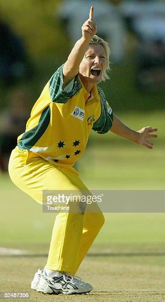 Cathryn Fitzpatrick of Australia celebrates the wicket of Charlize van der Westhuizen for lbw during the International Womens Cricket World Cup match...