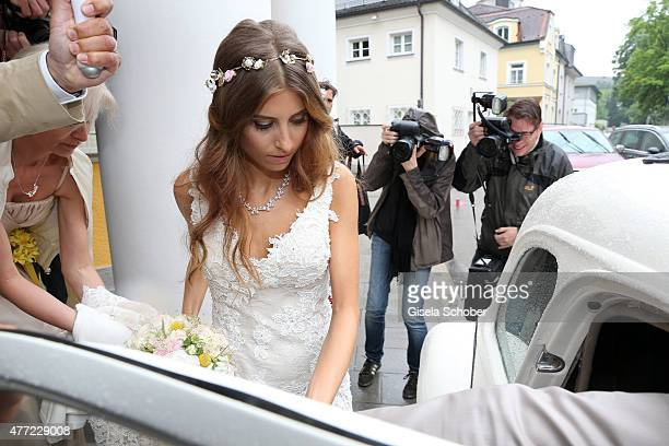 Cathy Fischer gets into a car after her wedding with Mats Hummels on June 15 2015 in Munich Germany
