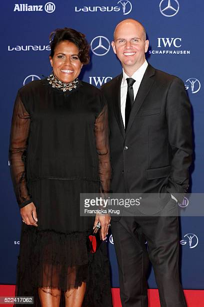 Cathy Freeman and her husband James Murch attend the Laureus World Sports Awards 2016 at the Messe Berlin on April 18 2016 in Berlin Germany