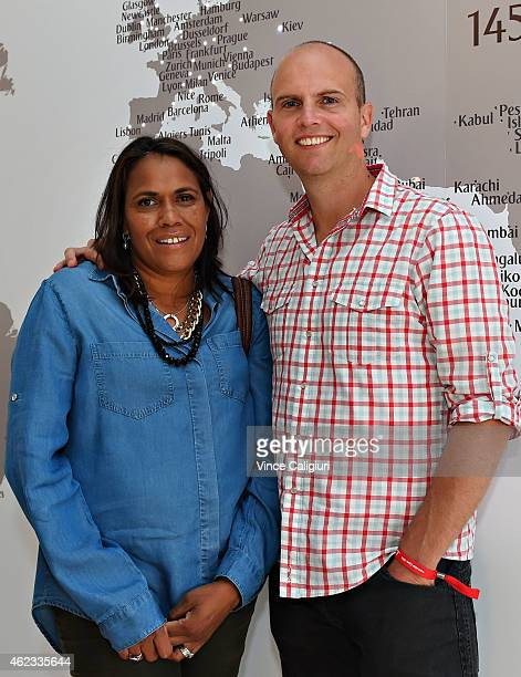 Cathy Freeman and James Murch pose for a photo at the Australian Open Emirates Suite for a cocktail reception at Melbourne Park on January 27 2015 in...
