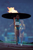 Cathy Freeman from Australia during a women's 400meter heat of the 2000 Olympics