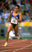 Cathy Freeman of Australia in action during the 200 Metres event at the 1993 Panasonic AAA Championships in Birmingham England Mandatory Credit Gray...