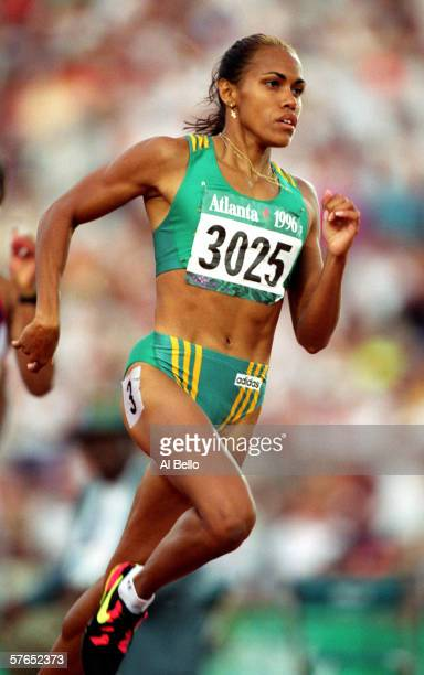 Cathy Freeman of Australia in action during the Women's 400m semifinal during the 1996 Olympic Games held at Olympic Stadium July 28 1996 in Atlanta...