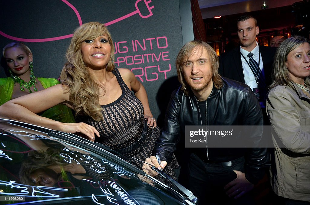 Cathy Guetta and David Guetta attend the Renault Twizy Launch by David Cathy Guetta Red Carpet Arrivals at Atelier Renaulton March 27 2012 in Paris...