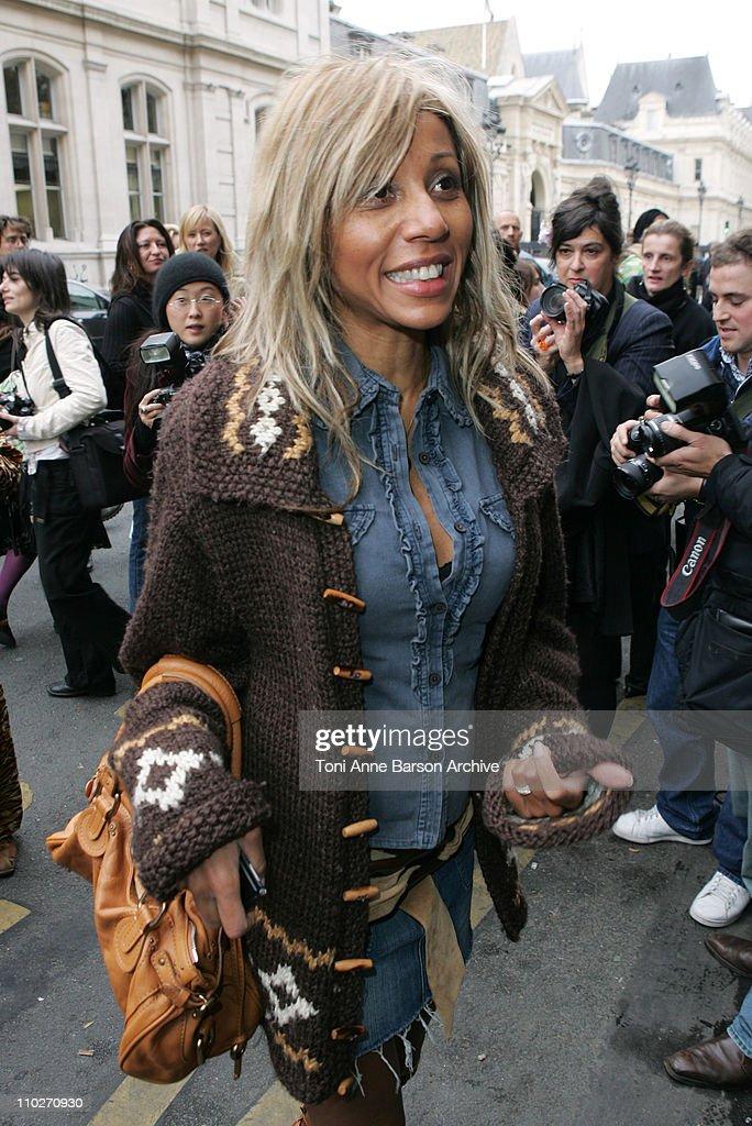 Cathy Guetta during Paris Fashion Week Pret a Porter Spring/Summer 2006 JeanPaul Gaultier Arrivals at Grand Palais in Paris France