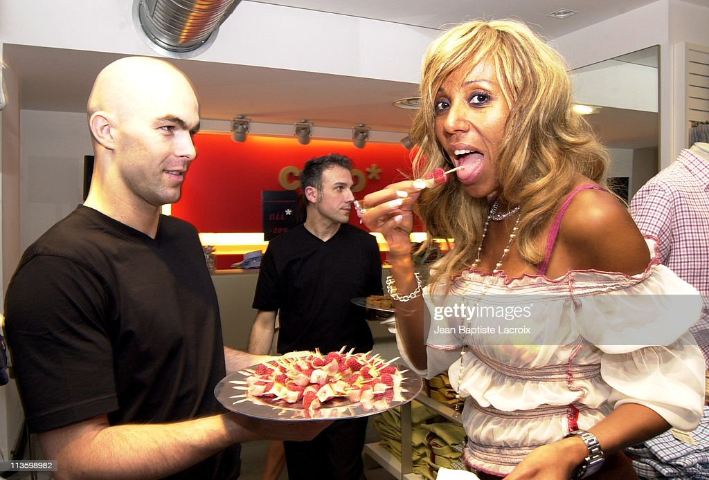 Cathy Guetta enjoys the party during Celio Paris Opening party at ChampsElysees in Paris France