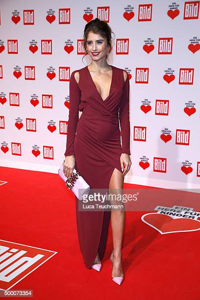Cathy Hummels arrives for the Ein Herz Fuer Kinder Gala 2015 at Tempelhof Airport on December 5 2015 in Berlin Germany