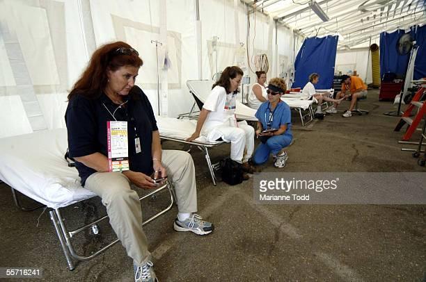 Cathy Lewis waits for medical care at North Carolina Med 1 on September 18 2005 in Waveland Mississippi The North Carolina Med 1 unit which was the...