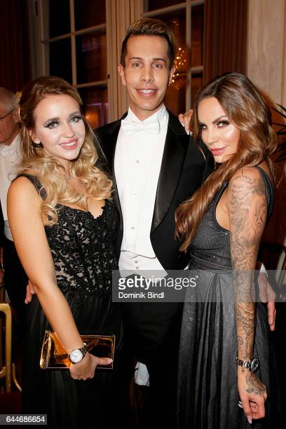 Cathy Lugner Florian Wess and GinaLisa Lohfink during the Opera Ball Vienna at Vienna State Opera on February 23 2017 in Vienna Austria