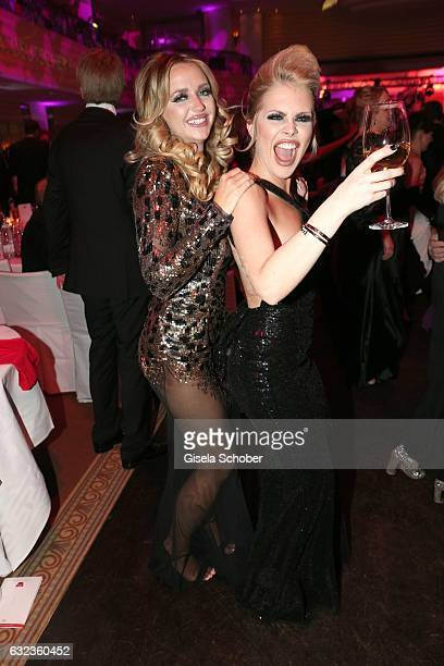 Cathy Lugner former wife of Richard Lugner and Sarah Joelina during the 44th German Film Ball 2017 party at Hotel Bayerischer Hof on January 21 2017...