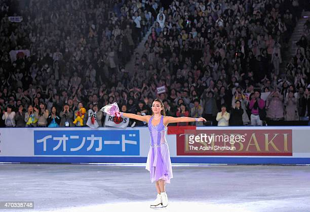Cathy Reed of Japan applauds the crowd as she announces her retirement during the day four of the ISU World Team Trophy at Yoyogi National Gymnasium...