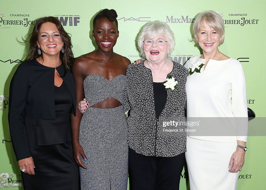 <a gi-track='captionPersonalityLinkClicked' href=/galleries/search?phrase=Cathy+Schulman&family=editorial&specificpeople=677977 ng-click='$event.stopPropagation()'>Cathy Schulman</a>, and actresses <a gi-track='captionPersonalityLinkClicked' href=/galleries/search?phrase=Lupita+Nyong%27o&family=editorial&specificpeople=10961876 ng-click='$event.stopPropagation()'>Lupita Nyong'o</a>, <a gi-track='captionPersonalityLinkClicked' href=/galleries/search?phrase=June+Squibb&family=editorial&specificpeople=3089431 ng-click='$event.stopPropagation()'>June Squibb</a> and <a gi-track='captionPersonalityLinkClicked' href=/galleries/search?phrase=Helen+Mirren&family=editorial&specificpeople=201576 ng-click='$event.stopPropagation()'>Helen Mirren</a> attend the Women in Film Pre-Oscar Cocktail Party Presented by Perrier-Jouet, MAC & MaxMara at the Fig & Olive Melrose Place on February 28, 2014 in West Hollywood, California.