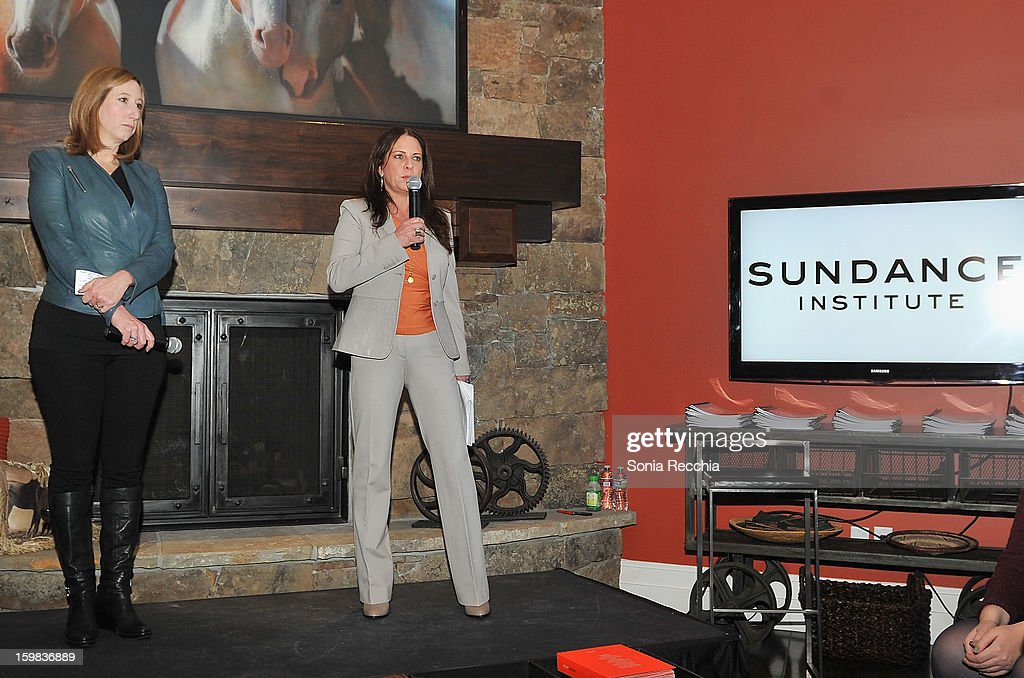 <a gi-track='captionPersonalityLinkClicked' href=/galleries/search?phrase=Cathy+Schulman&family=editorial&specificpeople=677977 ng-click='$event.stopPropagation()'>Cathy Schulman</a>, President of Women In Film and <a gi-track='captionPersonalityLinkClicked' href=/galleries/search?phrase=Keri+Putnam&family=editorial&specificpeople=226879 ng-click='$event.stopPropagation()'>Keri Putnam</a>, Sundance Institute Executive Director speak at the Women at Sundance Brunch during the 2013 Sundance Film Festival on January 21, 2013 in Park City, Utah.