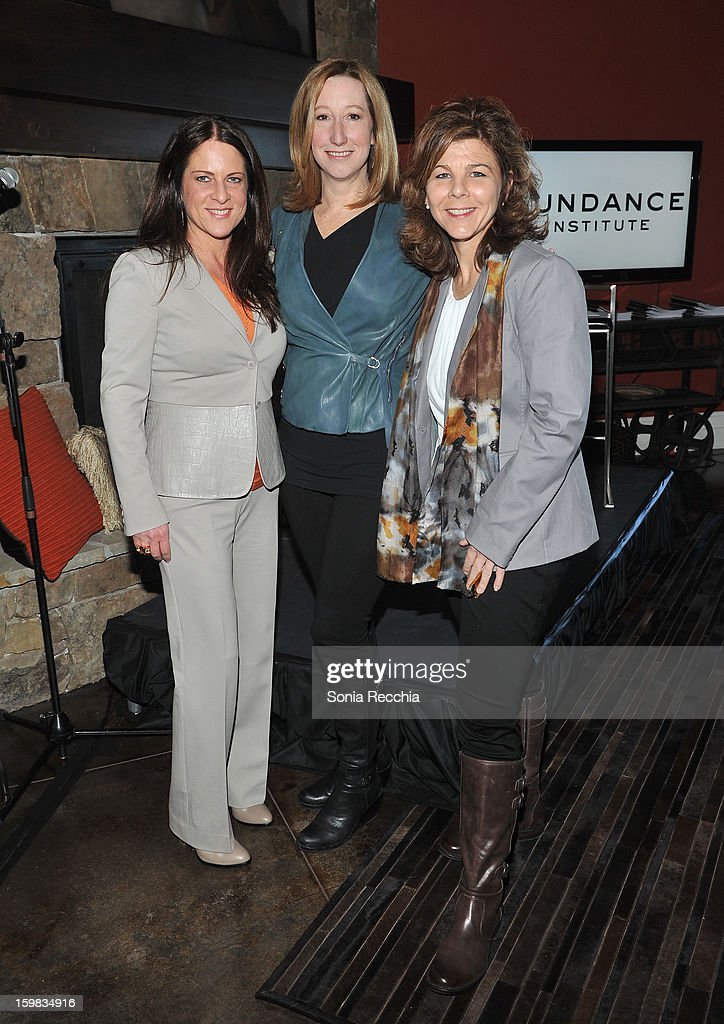 <a gi-track='captionPersonalityLinkClicked' href=/galleries/search?phrase=Cathy+Schulman&family=editorial&specificpeople=677977 ng-click='$event.stopPropagation()'>Cathy Schulman</a>, President of Women In Film, <a gi-track='captionPersonalityLinkClicked' href=/galleries/search?phrase=Keri+Putnam&family=editorial&specificpeople=226879 ng-click='$event.stopPropagation()'>Keri Putnam</a>, Sundance Institute Executive Director and Dr. Stacy Smith of USC Annenberg School for Communication and Journalism attend the Women at Sundance Brunch during the 2013 Sundance Film Festival on January 21, 2013 in Park City, Utah.